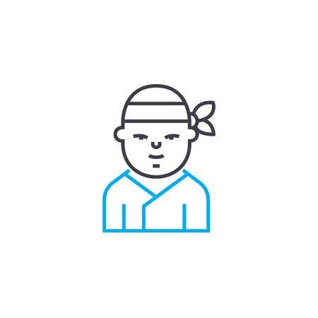 Samurai line icon, vector illustration. Samurai linear concept sign. Banque d'images - 102010246