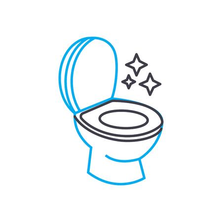 Sanitair schoonmaak lijn pictogram, vectorillustratie. Sanitair schoonmaken lineaire concept teken. Vector Illustratie