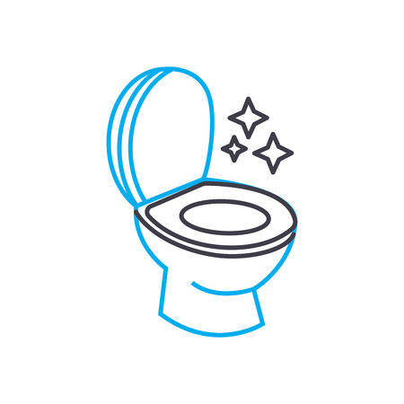 Sanitary ware cleaning line icon, vector illustration. Sanitary ware cleaning linear concept sign.