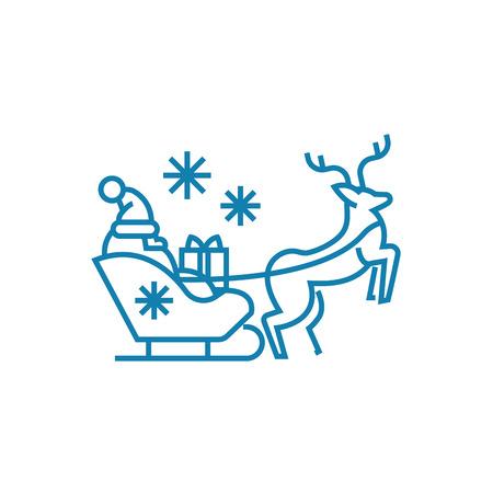 Santas sleigh line icon, vector illustration. Santas sleigh linear concept sign.