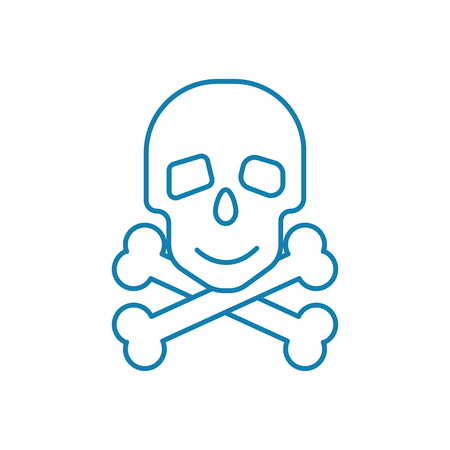 Scanning bones line icon, vector illustration. Scanning bones linear concept sign.
