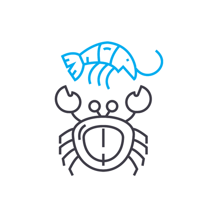 Seafood line icon, vector illustration. Seafood linear concept sign.
