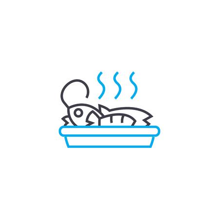 Seafood dish line icon, vector illustration. Seafood dish linear concept sign. Illustration