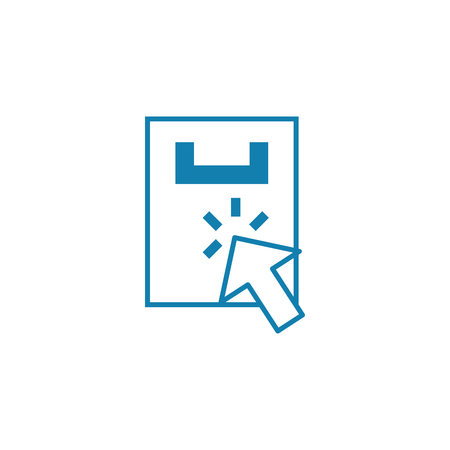 Searching the outlet line icon, vector illustration. Searching the outlet linear concept sign. 일러스트