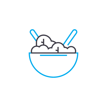 Second course line icon, vector illustration. Second course linear concept sign. 向量圖像