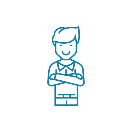 Self-satisfied man line icon, vector illustration. Self-satisfied man linear concept sign. Çizim