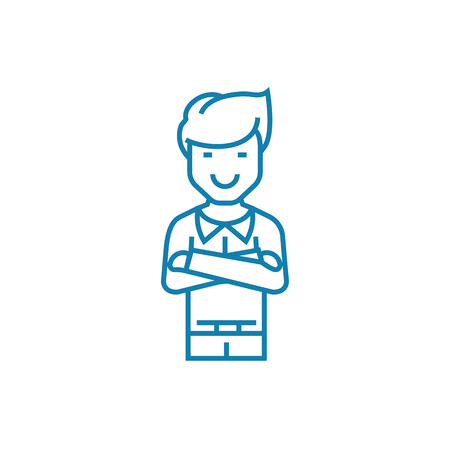 Self-satisfied man line icon, vector illustration. Self-satisfied man linear concept sign. Illustration