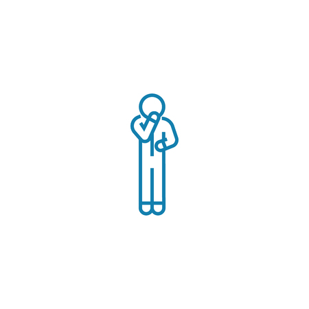 Self-doubt line icon, vector illustration. Self-doubt linear concept sign. Stock Illustratie