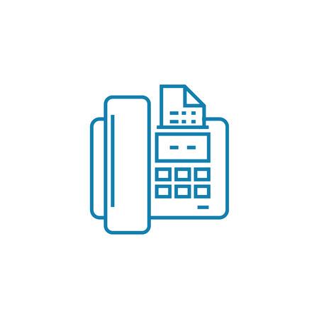 Invio di un'icona della linea di fax, illustrazione vettoriale. Invio di un segno di concetto lineare di fax.