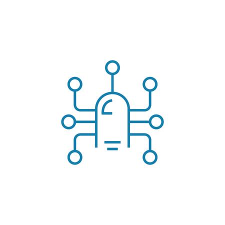 Sensor technology line icon, vector illustration. Sensor technology linear concept sign.