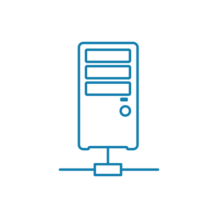 Server node line icon, vector illustration. Server node linear concept sign.