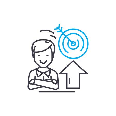 Setting goals line icon, vector illustration. Setting goals linear concept sign. Illustration