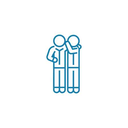 Sharing secrets line icon, vector illustration. Sharing secrets linear concept sign.