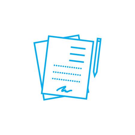 Ondertekende documenten lijn pictogram, vectorillustratie. Ondertekende documenten lineaire concept teken.