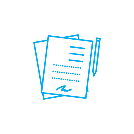Signed documents line icon, vector illustration. Signed documents linear concept sign. 일러스트