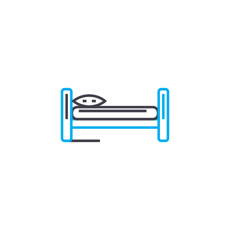 Single bed line icon, vector illustration. Single bed linear concept sign. Illustration