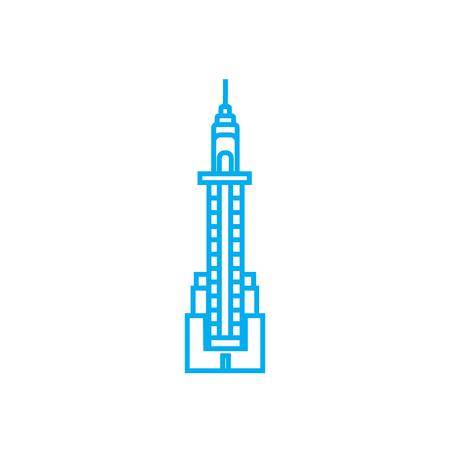 Skyscraper tower line icon, vector illustration. Skyscraper tower linear concept sign. Çizim