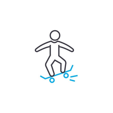 Skateboarding line icon, vector illustration. Skateboarding linear concept sign.  イラスト・ベクター素材