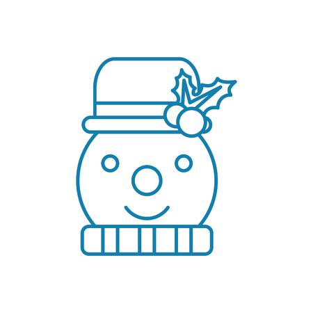 Sneeuwpop lijn pictogram, vectorillustratie. Sneeuwpop lineaire concept teken.