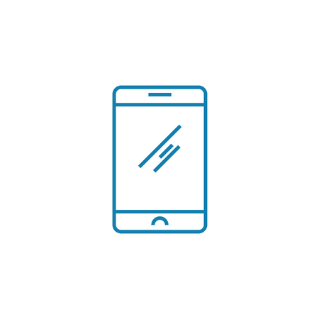 Smartphone line icon, vector illustration. Smartphone linear concept sign.  イラスト・ベクター素材