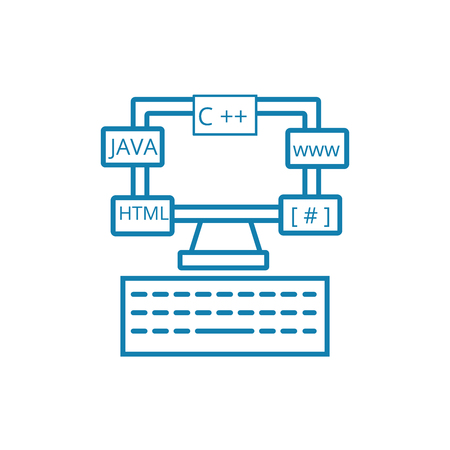 Software environment line icon, vector illustration. Software environment linear concept sign.