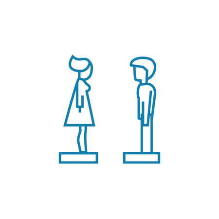 Sorting out relations line icon, vector illustration. Sorting out relations linear concept sign.