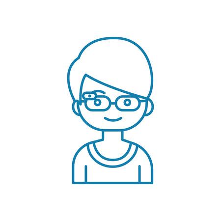 Smart child line icon, vector illustration. Smart child linear concept sign. Banque d'images - 102006037