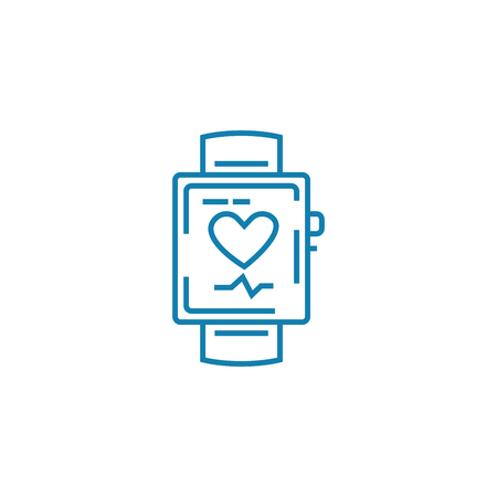 Smart watch line icon, vector illustration. Smart watch linear concept sign.