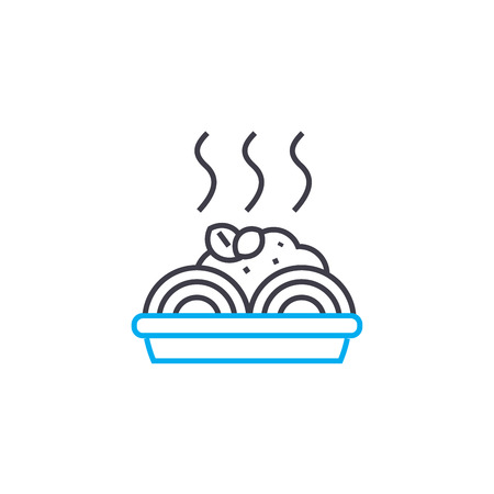 Spaghetti recipe line icon, vector illustration. Spaghetti recipe linear concept sign. 向量圖像