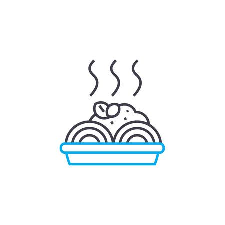 Spaghetti recipe line icon, vector illustration. Spaghetti recipe linear concept sign. Illustration