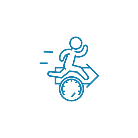 speed record line icon, vector illustration. speed record linear concept sign.  イラスト・ベクター素材