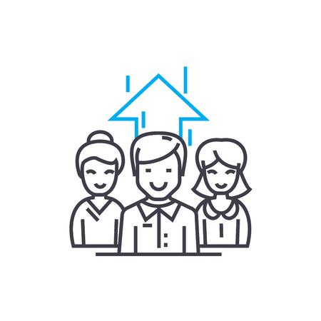 Staff motivating line icon, vector illustration. Staff motivating linear concept sign.