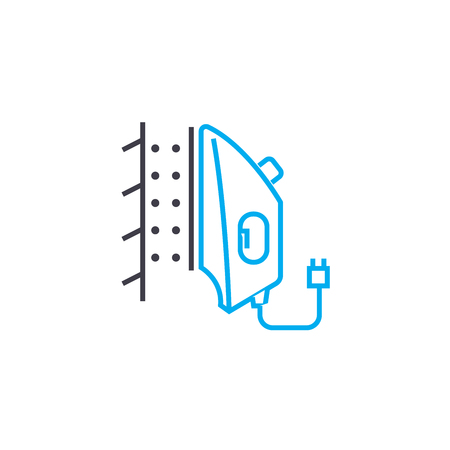 Steam ironing line icon, vector illustration. Steam ironing linear concept sign. 스톡 콘텐츠 - 102031237