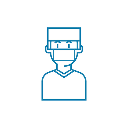 Surgeon line icon, vector illustration. Surgeon linear concept sign.