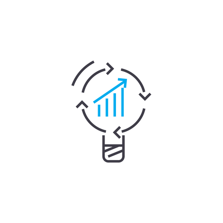 Successfully developing business line icon, vector illustration. Successfully developing business linear concept sign. Çizim