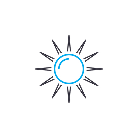 Sunbathing on the beach line icon, vector illustration. Sunbathing on the beach linear concept sign.