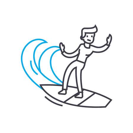 Surfing line icon, vector illustration. Surfing linear concept sign.