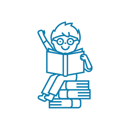 Studying textbooks line icon, vector illustration. Studying textbooks linear concept sign. Illustration