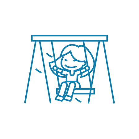 Swinging on a swing line icon, vector illustration. Swinging on a swing linear concept sign. 일러스트