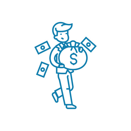 Successful entrepreneur line icon, vector illustration. Successful entrepreneur linear concept sign.
