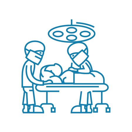 Surgical operation line icon, vector illustration. Surgical operation linear concept sign.