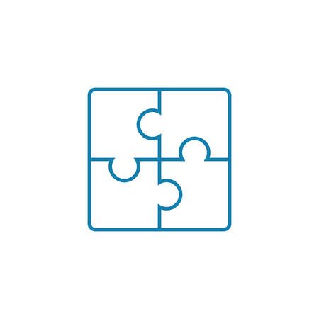 Solving puzzles line icon, vector illustration. Solving puzzles linear concept sign. Stock fotó - 101976034