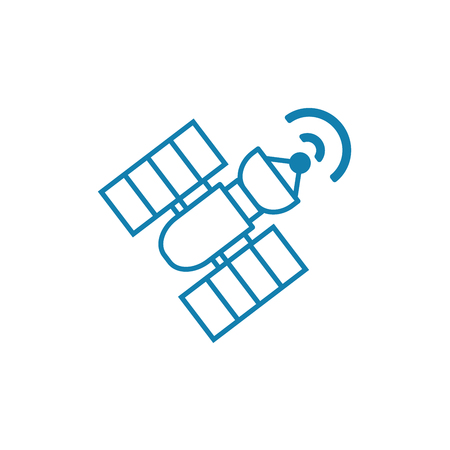 Space satellite line icon, vector illustration. Space satellite linear concept sign.  イラスト・ベクター素材
