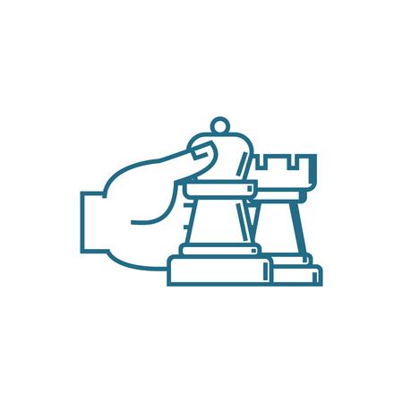 Strategic management line icon, vector illustration. Strategic management linear concept sign. Illustration