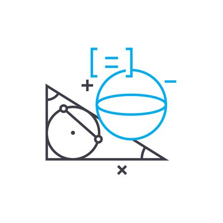 Study of geometry line icon, vector illustration. Study of geometry linear concept sign.