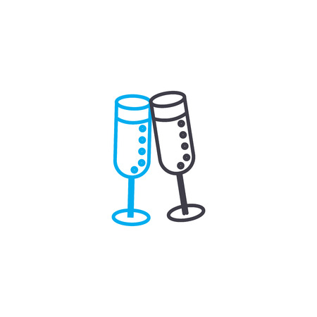 Tall wine-glasses line icon, vector illustration. Tall wine-glasses linear concept sign.