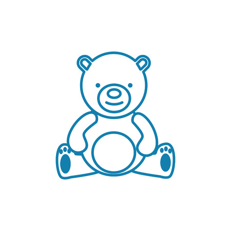 Icône de ligne ours en peluche, illustration vectorielle. Signe de concept linéaire ours en peluche.