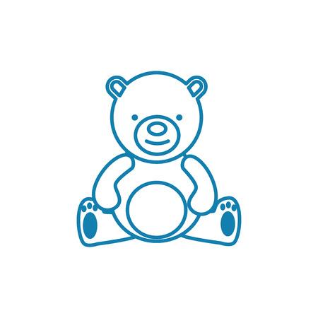 Icono de línea de oso de peluche, ilustración vectorial. Signo de concepto lineal de oso de peluche.