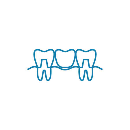 Teeth restoration line icon, vector illustration. Teeth restoration linear concept sign.