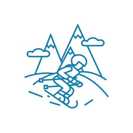 Skiing line icon, vector illustration. Skiing linear concept sign. Ilustrace